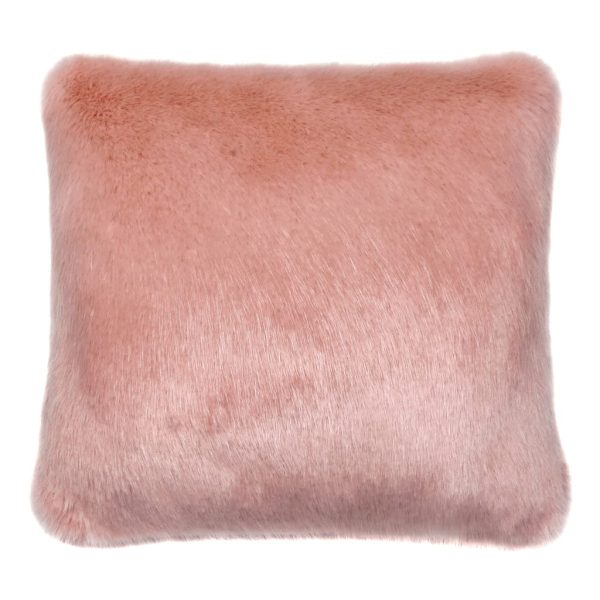 Dusky Faux Fur Square Cushion