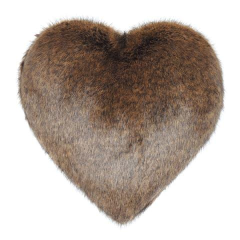 Golden Bear Faux Fur Heart Cushion