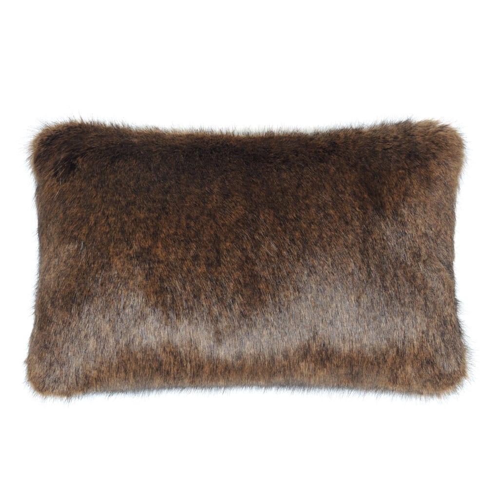 Golden Bear Faux Fur Rectangular Cushion