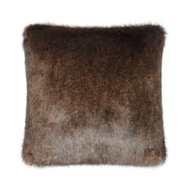 Golden Bear Faux Fur Square Cushion