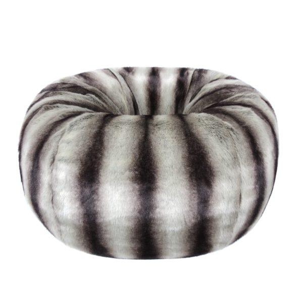 Grey Chinchilla Faux Fur Giant Beanbag