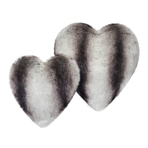 Grey Chinchilla Faux Fur Heart Cushion