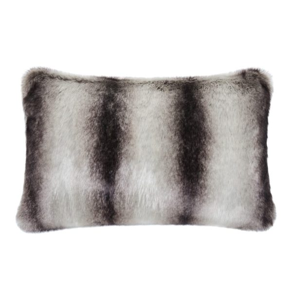 Grey Chinchilla Faux Fur Rectangular Cushion