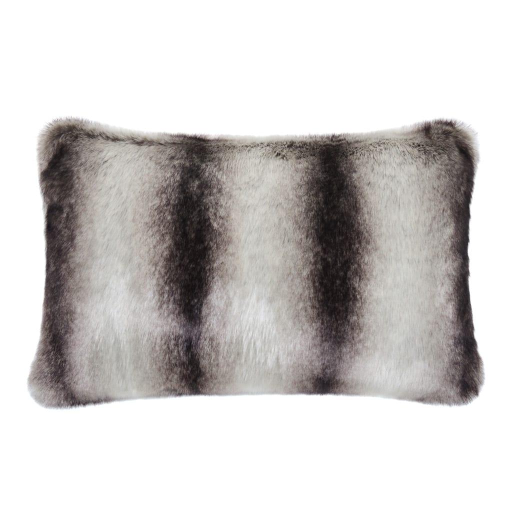 Grey Chinchilla Faux Fur Rectangular Cushion