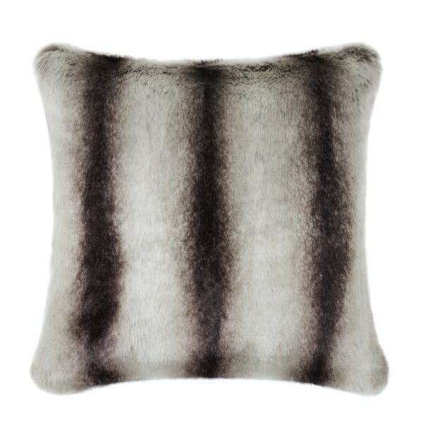 Grey Chinchilla Faux Fur Square Cushion