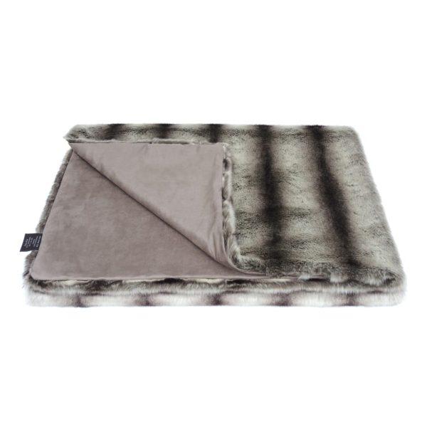 Grey Chinchilla Faux Fur Throw