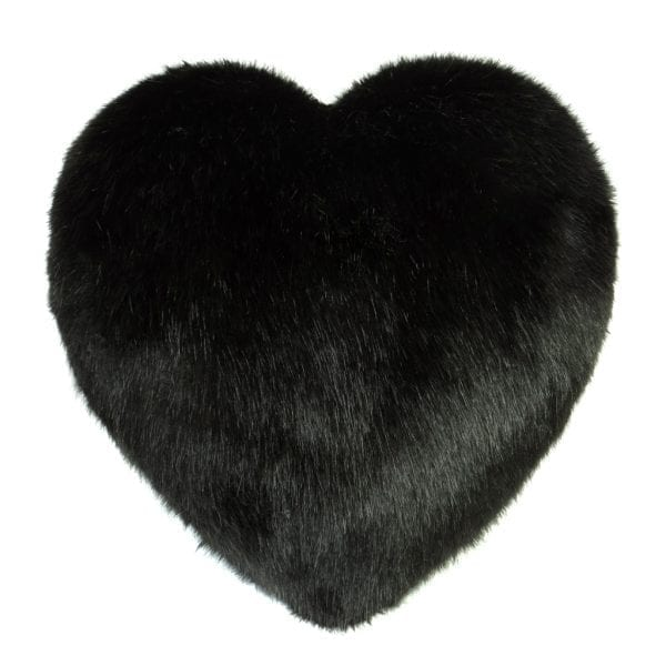 Jet Faux Fur Heart Cushion