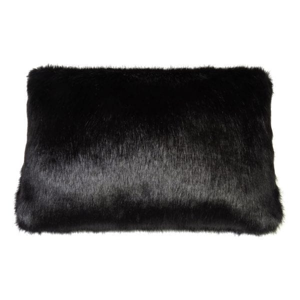 Jet Faux Fur Rectangular Cushion