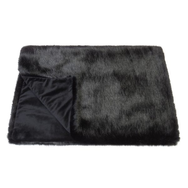 Jet Faux Fur Throw