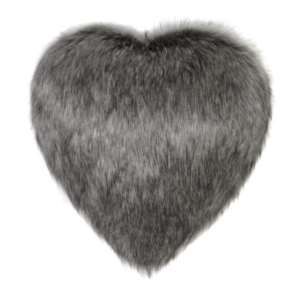 Lady Grey Faux Fur Heart Cushion