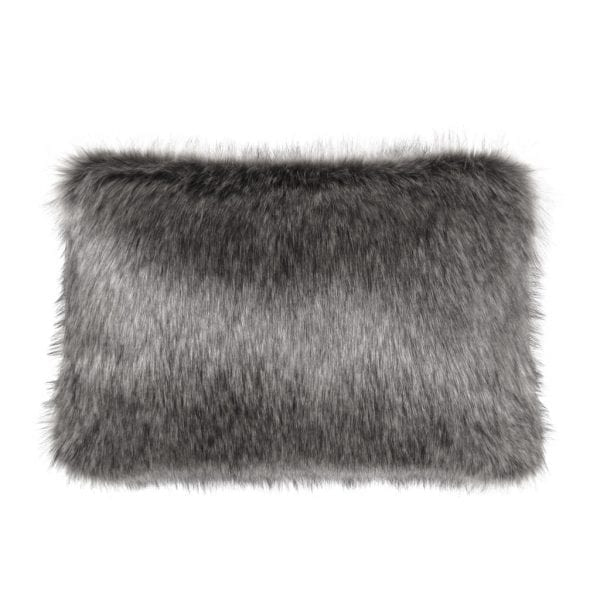 Lady Grey Faux Fur Rectangular Cushion