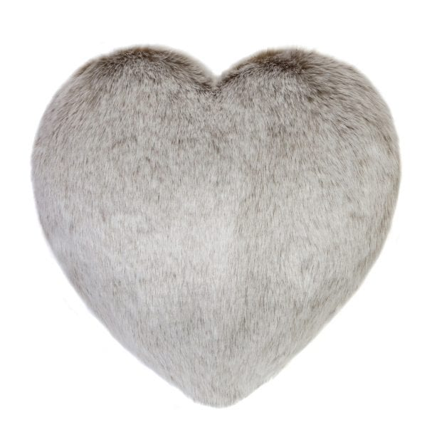 Latte Faux Fur Heart Cushion