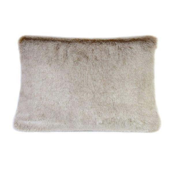 Latte Faux Fur Rectangular Cushion