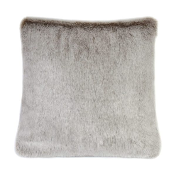 Latte Faux Fur Square Cushion