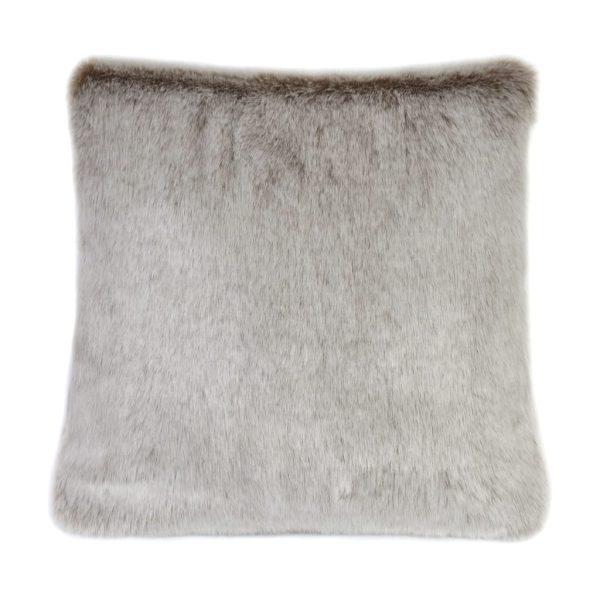Latte Faux Fur Square Cushion