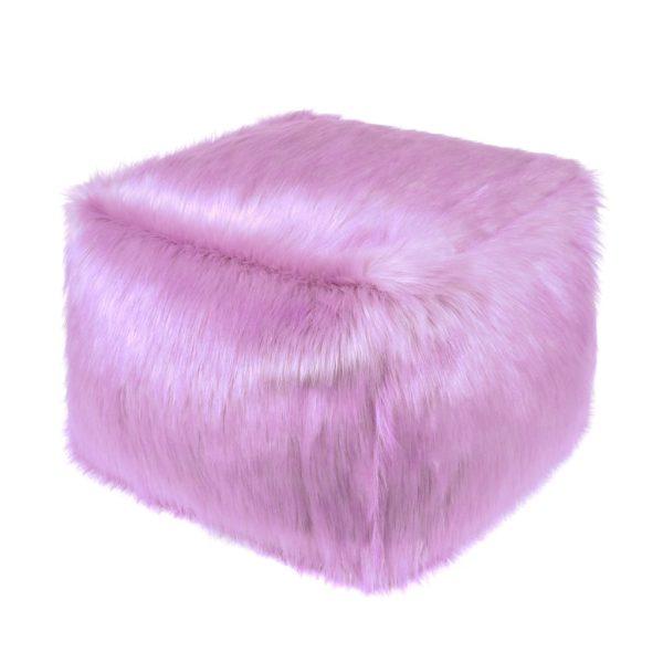 Lilac Faux Fur Cube