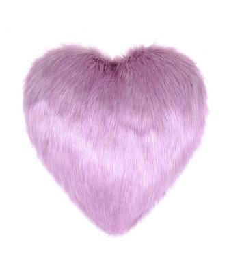 Lilac Faux Fur Heart Cushion