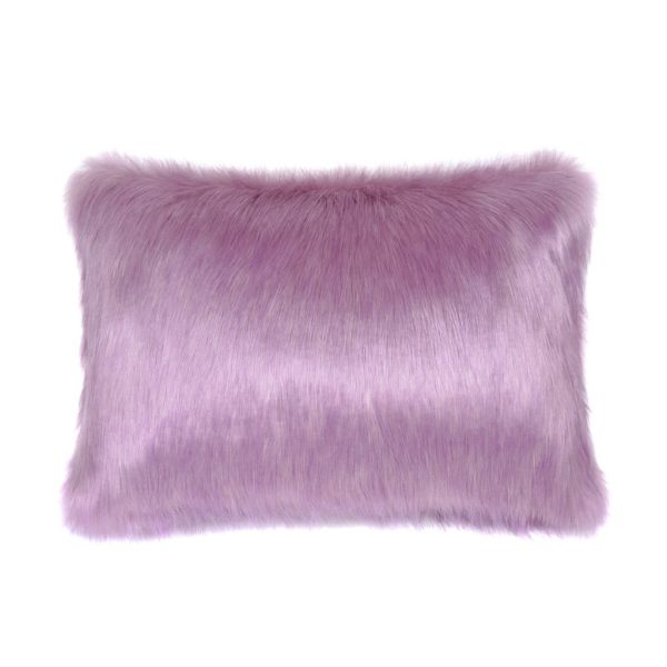 Lilac Faux Fur Rectangular Cushion
