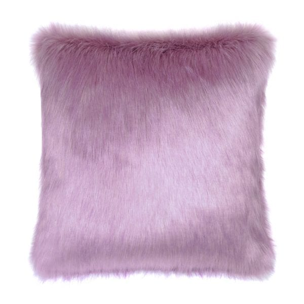 Lilac Faux Fur Square Cushion