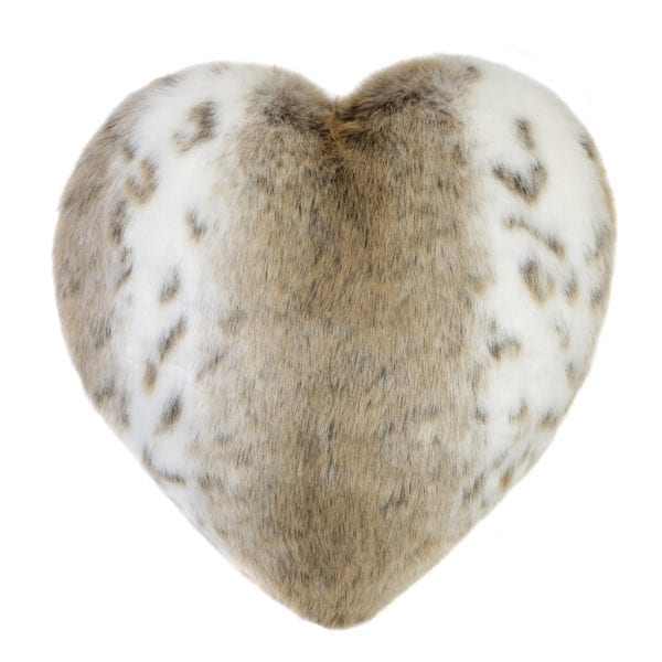 Lynx Faux Fur Heart Cushion