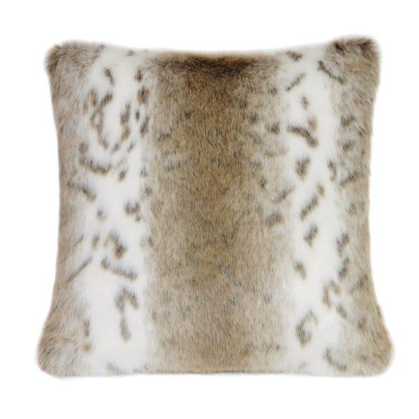 Lynx Faux Fur Square Cushion
