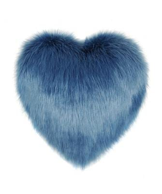 Marine Faux Fur Heart Cushion