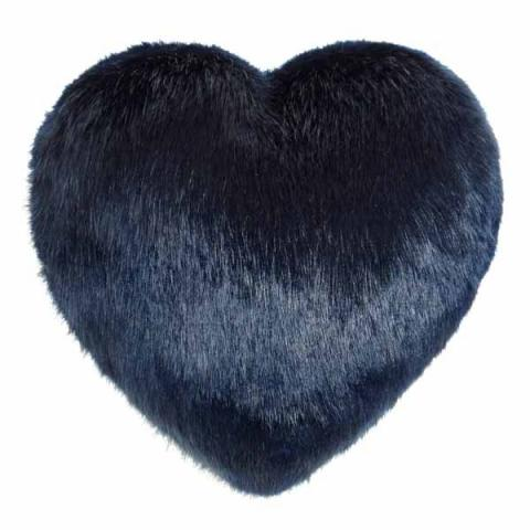 Midnight Faux Fur Heart Cushion
