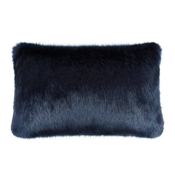 Midnight Faux Fur Rectangular Cushion
