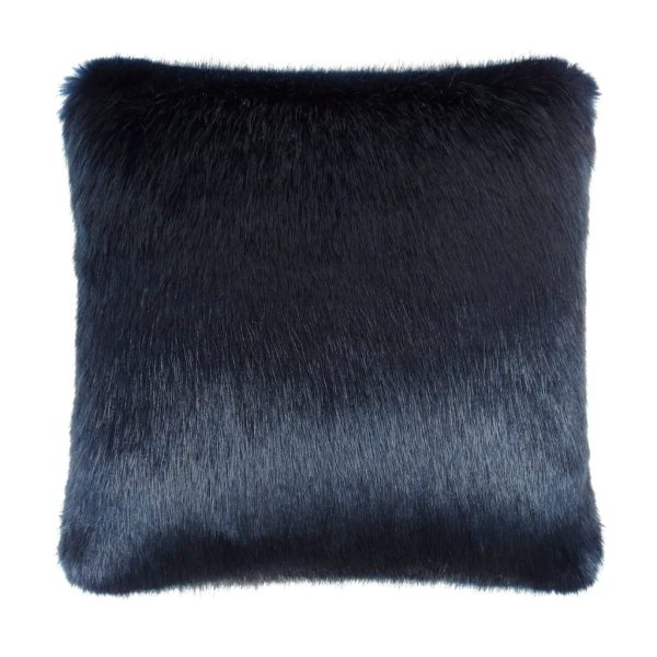 Midnight Faux Fur Square Cushion