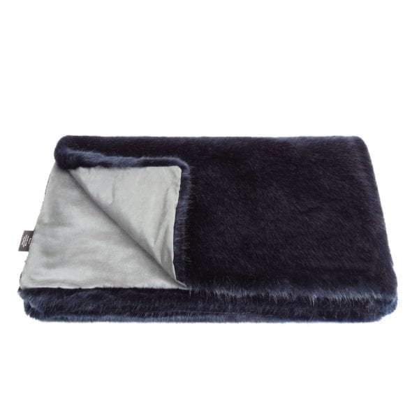 Midnight Faux Fur Throw