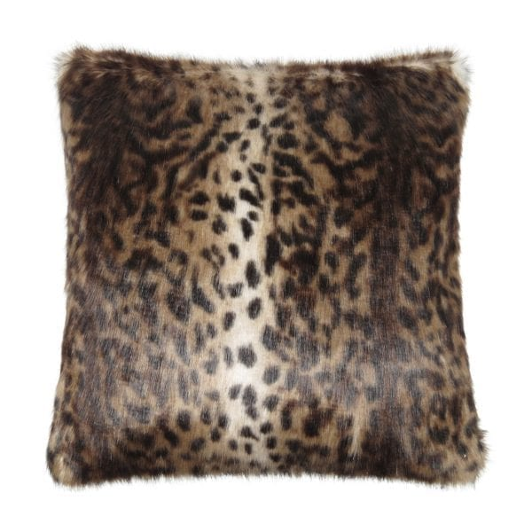 Ocelot Faux Fur Square Cushion