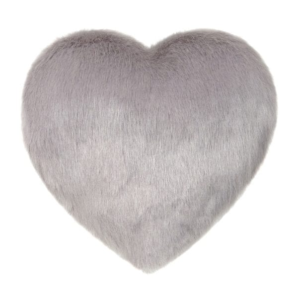 Opal Faux Fur Heart Cushion