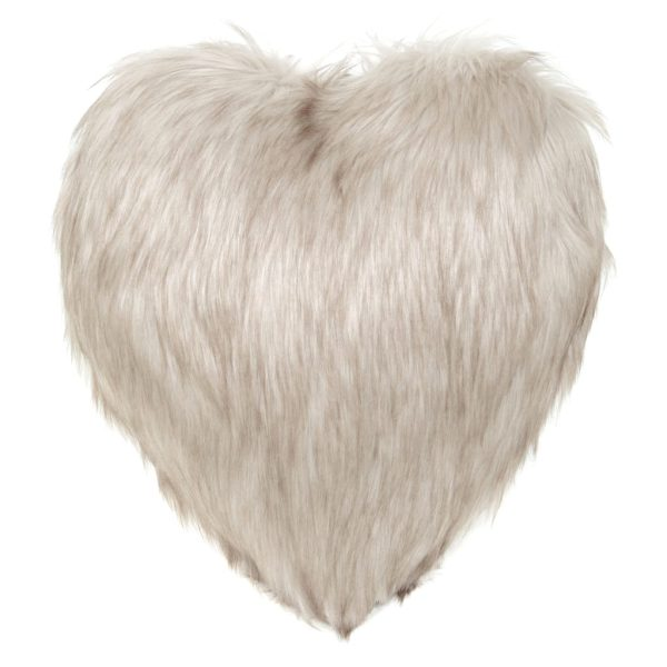 Oyster Faux Fur Heart Cushion
