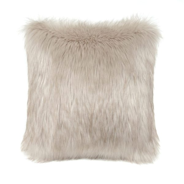 Oyster Faux Fur Square Cushion