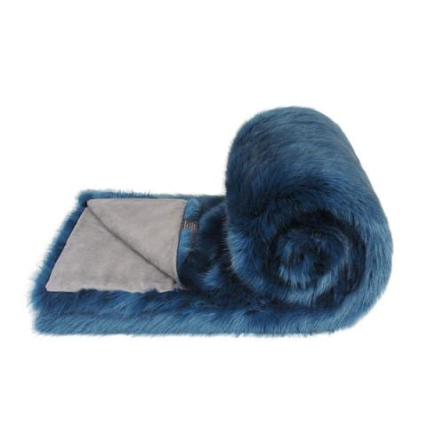 Petrol Faux Fur Bed Runner