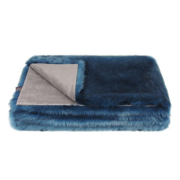 Petrol Faux Fur Throw