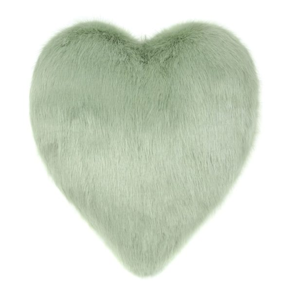Pistachio Faux Fur Heart Cushion