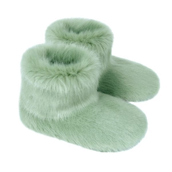 Pistachio Faux Fur Slipper Boots