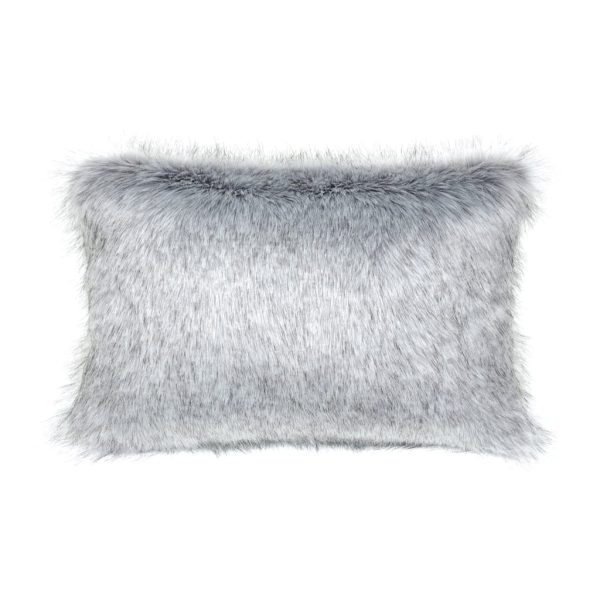 SILVER | FAUX FUR | RECTANGULAR CUSHION