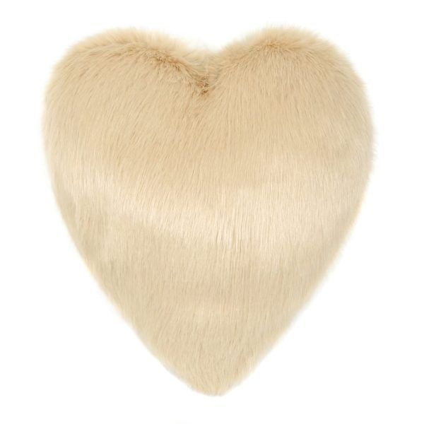 Sand Faux Fur Heart Cushion