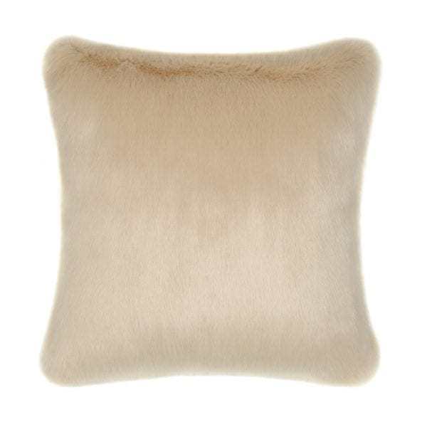 Sand Faux Fur Square Cushion
