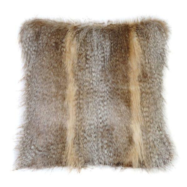 Siberian Wolf Faux Fur Square Cushion