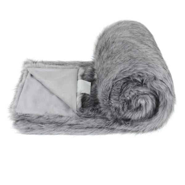Silver Faux Fur Bed Runner