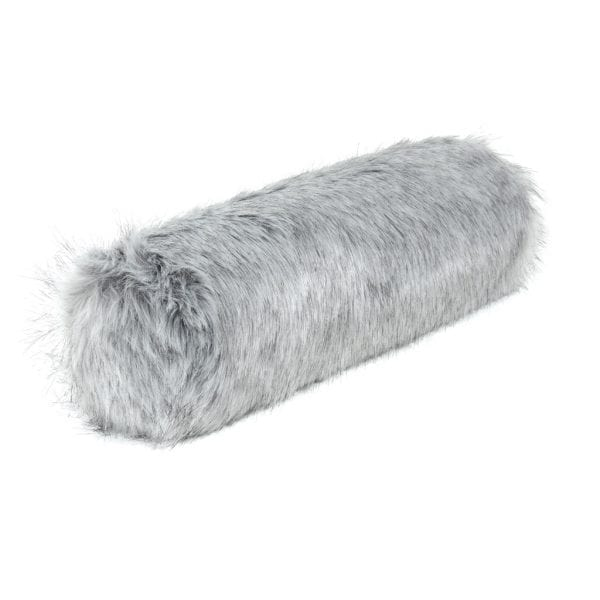 Silver Faux Fur Bolster Cushion