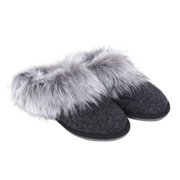 Silver Faux Fur Mule Slippers