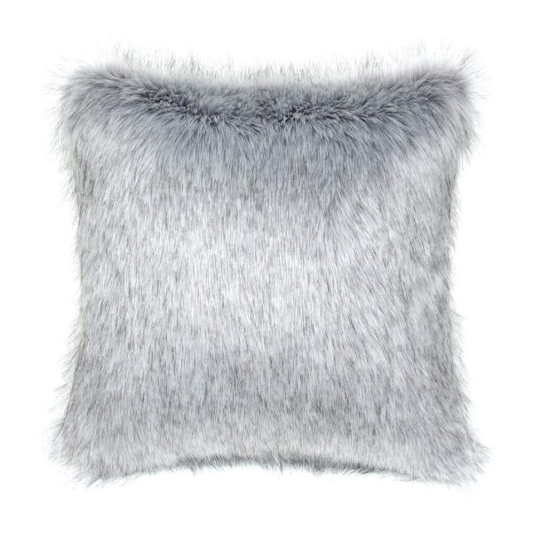 Silver Faux Fur Square Cushion