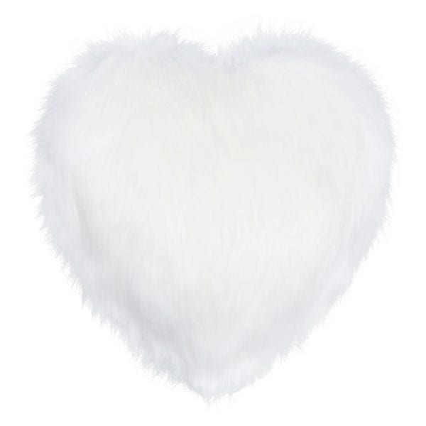Snow White Faux Fur Heart Cushion