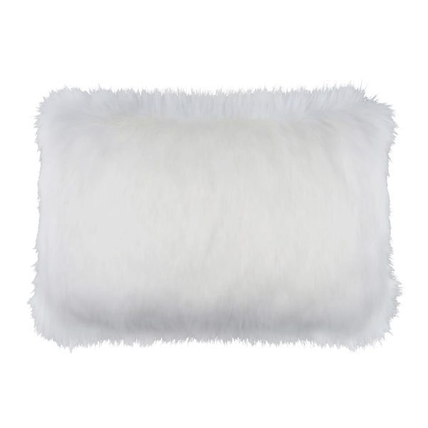 Snow White Faux Fur Rectangular Cushion