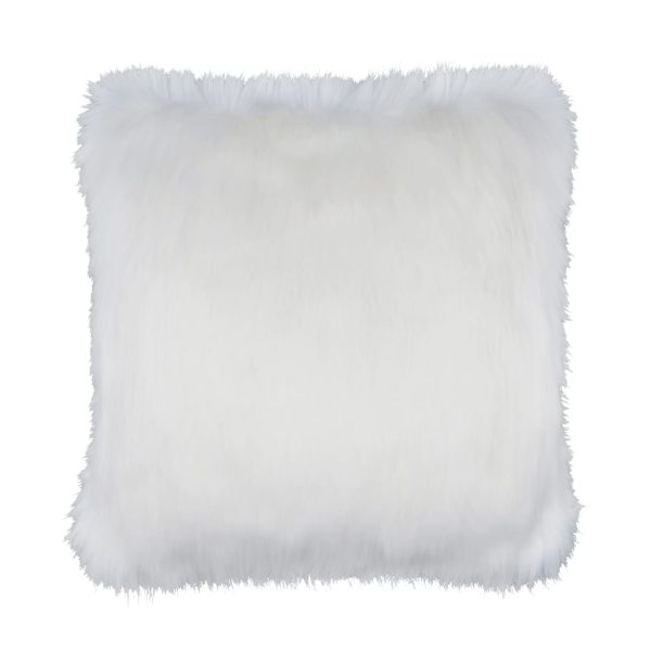 Snow White Faux Fur Square Cushion