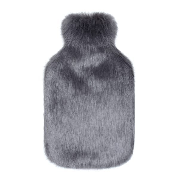 Steel Faux Fur Hot Water Bottle